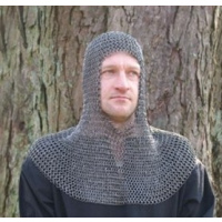Chainmail coif, rivetted, natural. -0